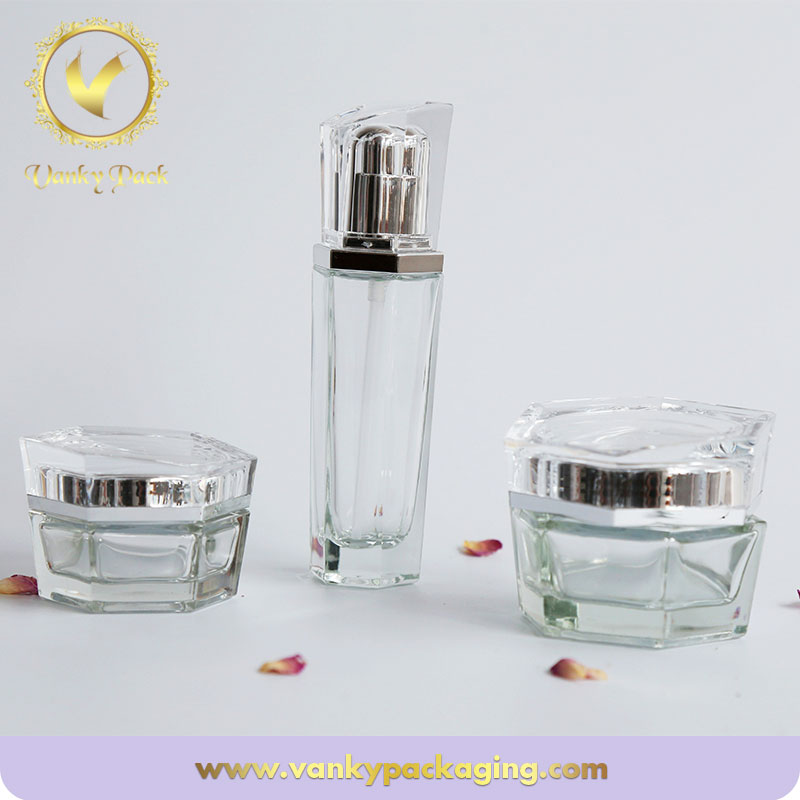 50ml Blue Printed Square Glass Dropper Bottle/Cosmetic Jars/Wholesale Glass Jars