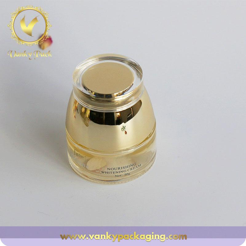 Wholesale High Quality Luxury Gold Cosmetic Glass Cream Jars And Lotion Bottles 30Ml~130Ml Logo Printing