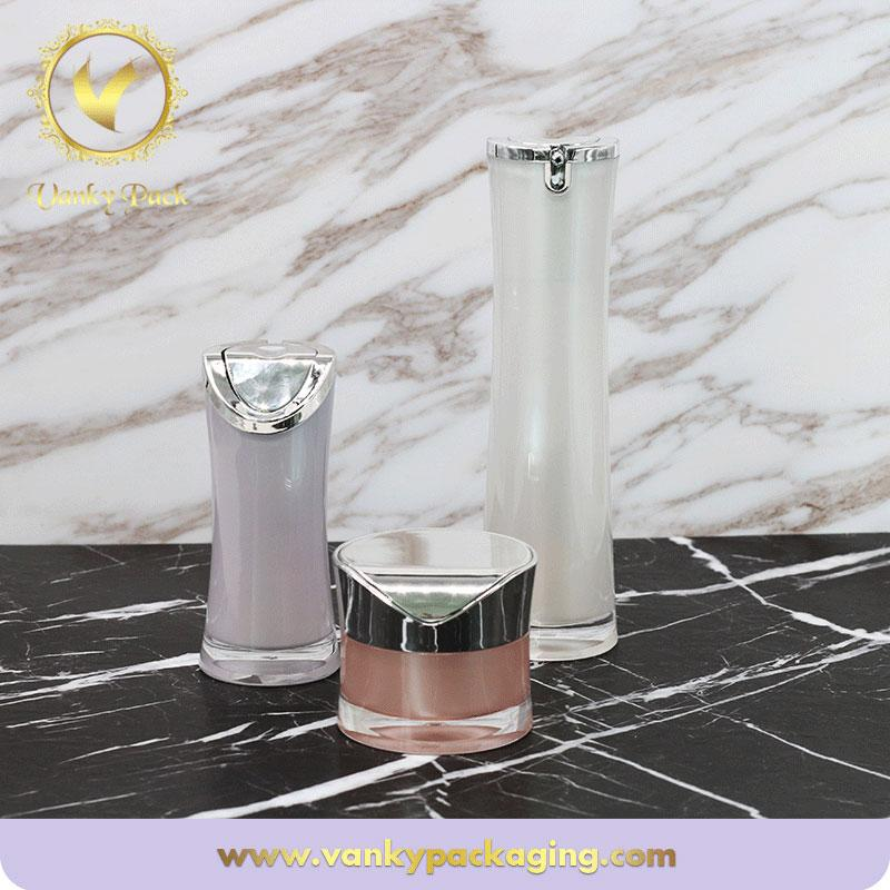 2017 Acrylic Fashion Cosmetic Pack Cream Jar New Design Lotion Acrylic Pump Bottle