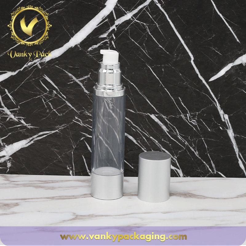 Wholesale Cosmetic Set Serum Airless Bottle Cream Jar Transparent Plastic Lotion Pump Bottle With Silver Cover