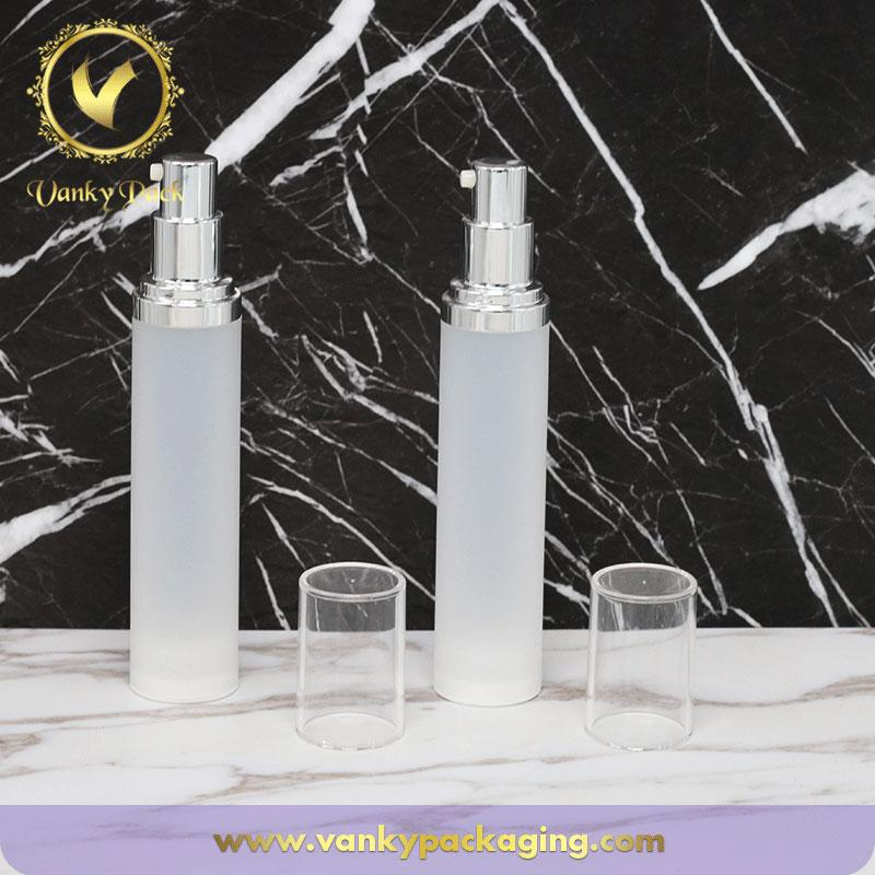 New Design Korea Style Round Cosmetic Vacuum Pump 15ml 30ml 50ml Frosted Plastic Airless Pump Bottle