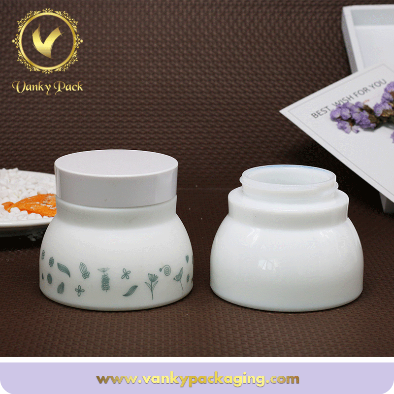 Fancy Empty White Colored Glass Cosmetic Jars Manufacturer