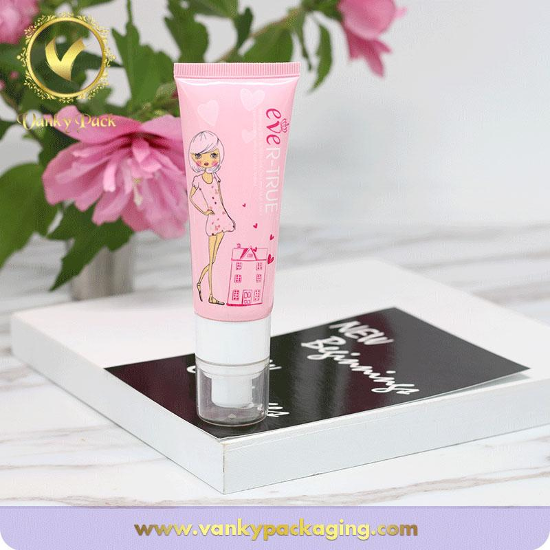 Biodegradable cute custom cosmetic empty packaging tube with pump top
