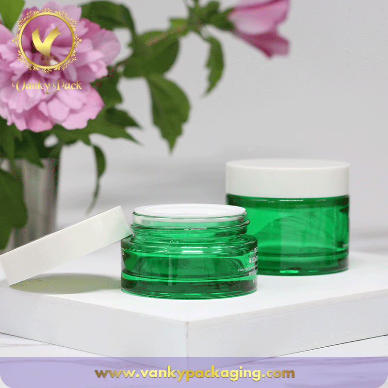 Round Shape Cosmetic Cream Jar with UV Printing And White Screw Cap