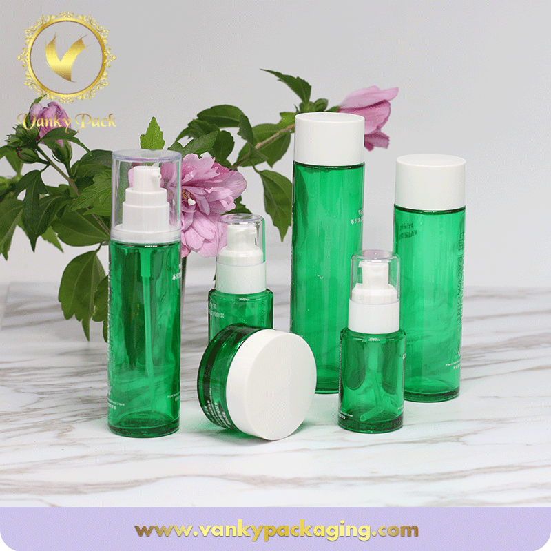 Whole Series Green UV Printing Glass Bottle And Jar With Custom Cap Pump