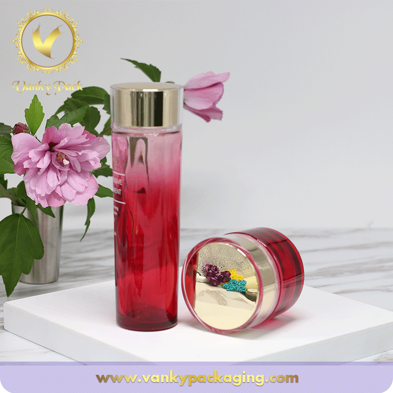 Cosmetic Lotion And Cream Round Glass Bottle And Jar Packaging With Cap