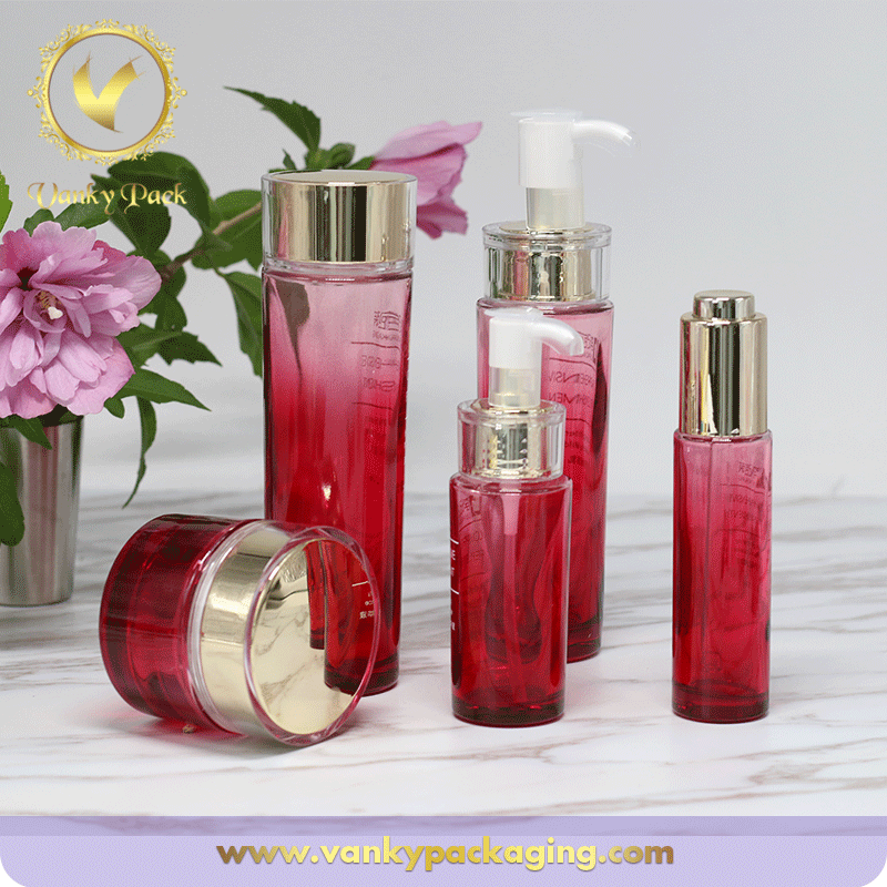 Family Cosmetic Packaging Series Glass Bottles And Jars With Red Printing
