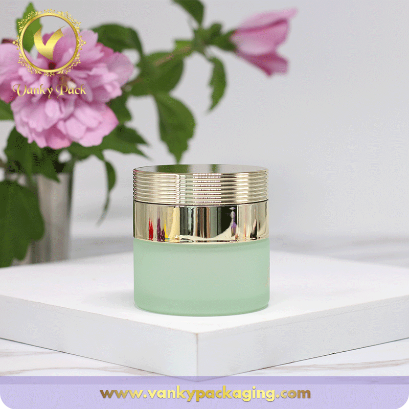Cosmetic Cream Glass Jar Container 50g With Shiny Gold UV Printing Cap