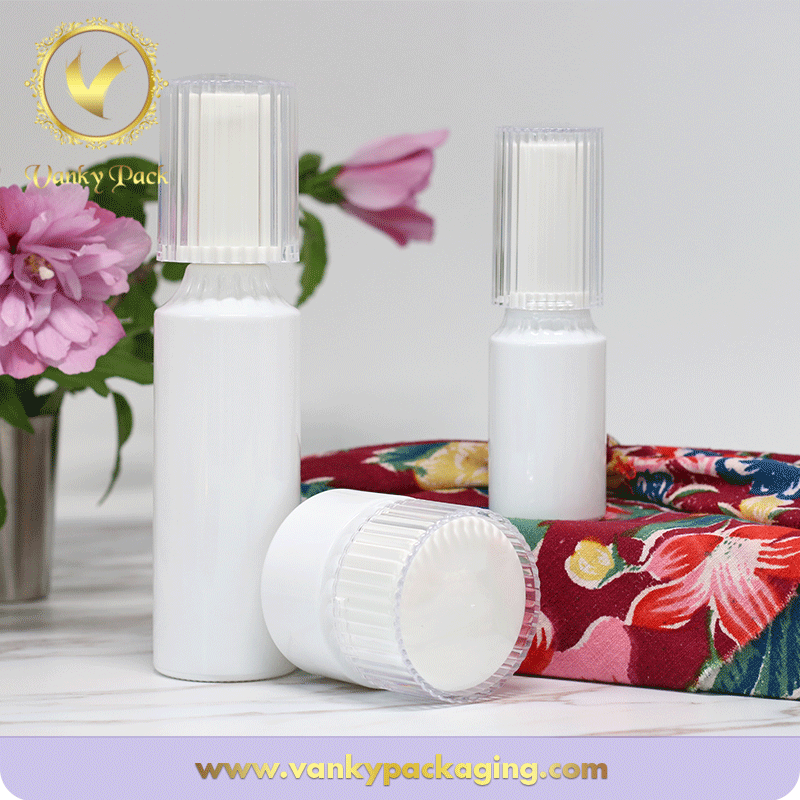 White Colored UV Printed Cosmetic Glass Bottle With Press Pump Packaging