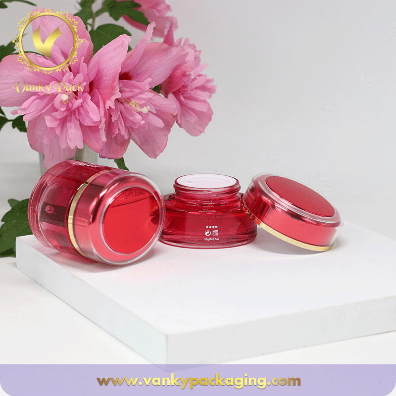Hot Sale Flat Round Cream Glass Jar With Red Color UV Printing And Cap