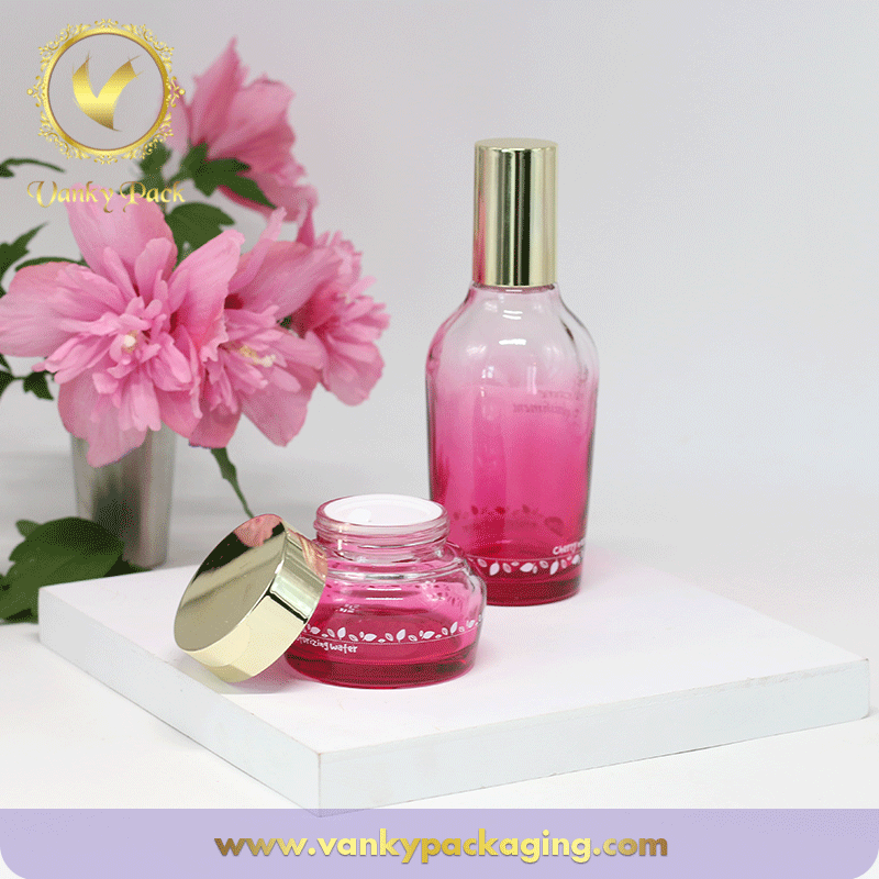 UV Coated Colored Glass Bottle And Jar Container For Cosmetic Packaging