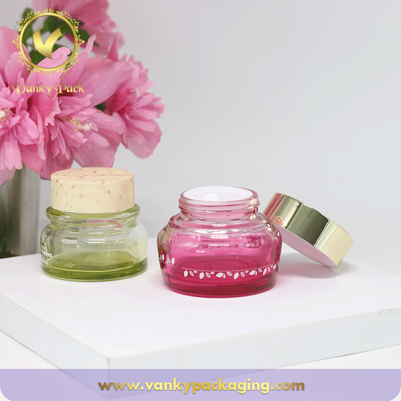 30G Cream Glass Jar Container With UV Printing Screw Cap For Cosmetic