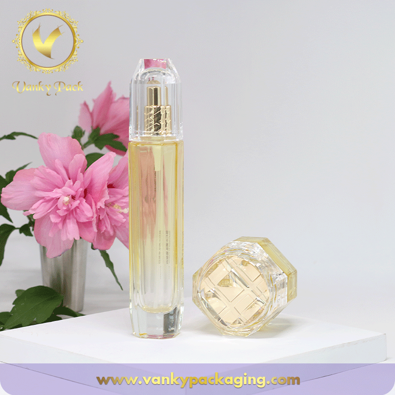 High End Octagon Shape Glass Bottle With Spring Press Pump Packaging