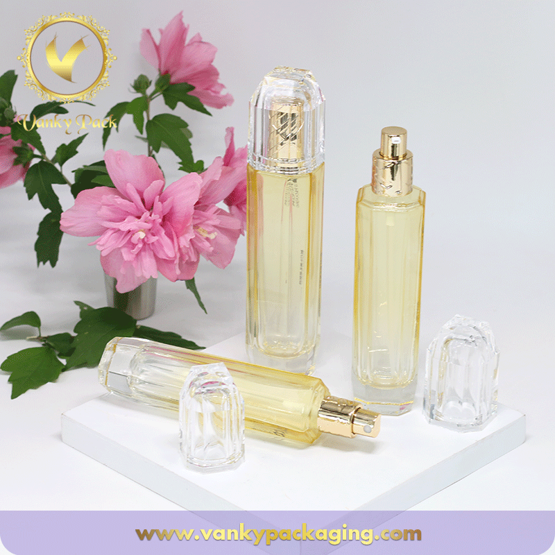 Special Octagon Shape Series Colored Glass Bottles With Spring Pump