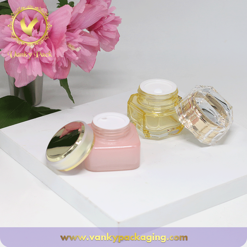 Square Shape Cosmetic Glass Jar With Inside Cover And Screw Cap