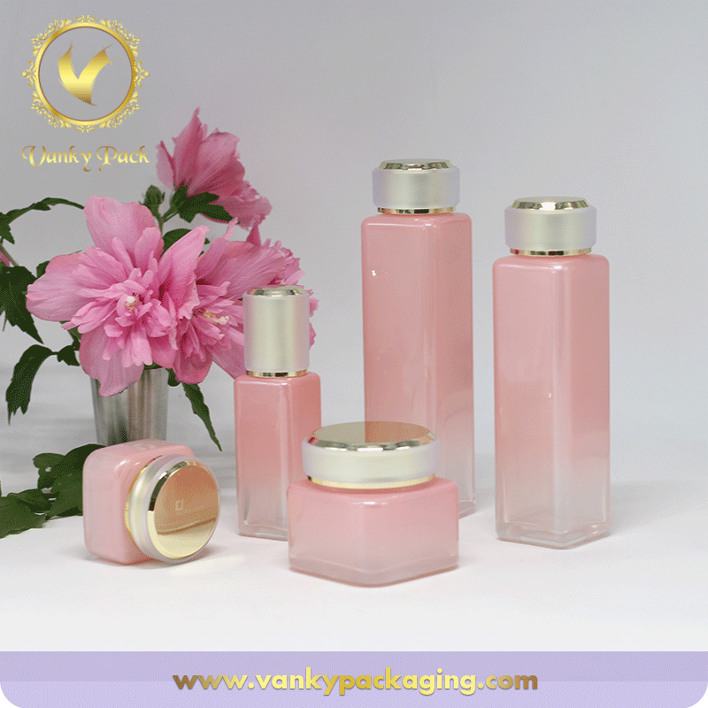 Square Shape Family Looking Whole Series Glass Bottle And Jar For Packaging
