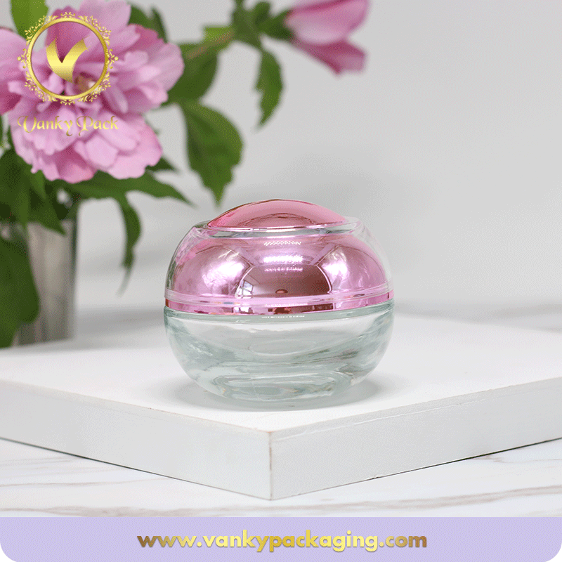 High Quality 50g Glass Cosmetic Cream Jar With Clear Top and UV Inside Screw Cap