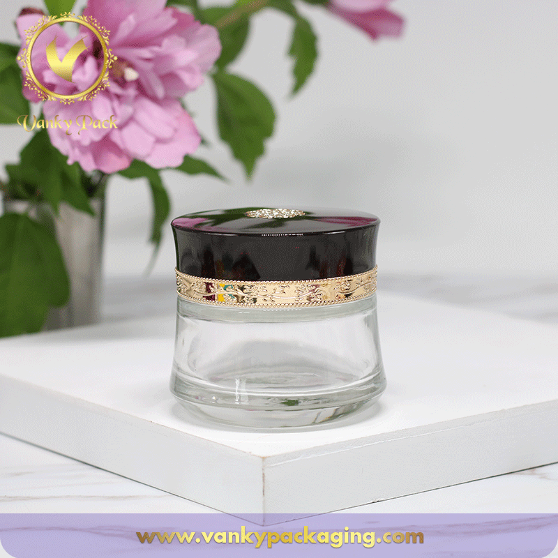 Top Sale Royal Style 50g Clear Glass Face Cream Cosmetic Jar with Special Design Screw Cap