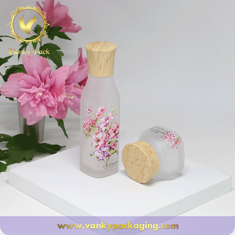 30g Matte Surface Cosmetic Glass Jar with UV Printing Lid