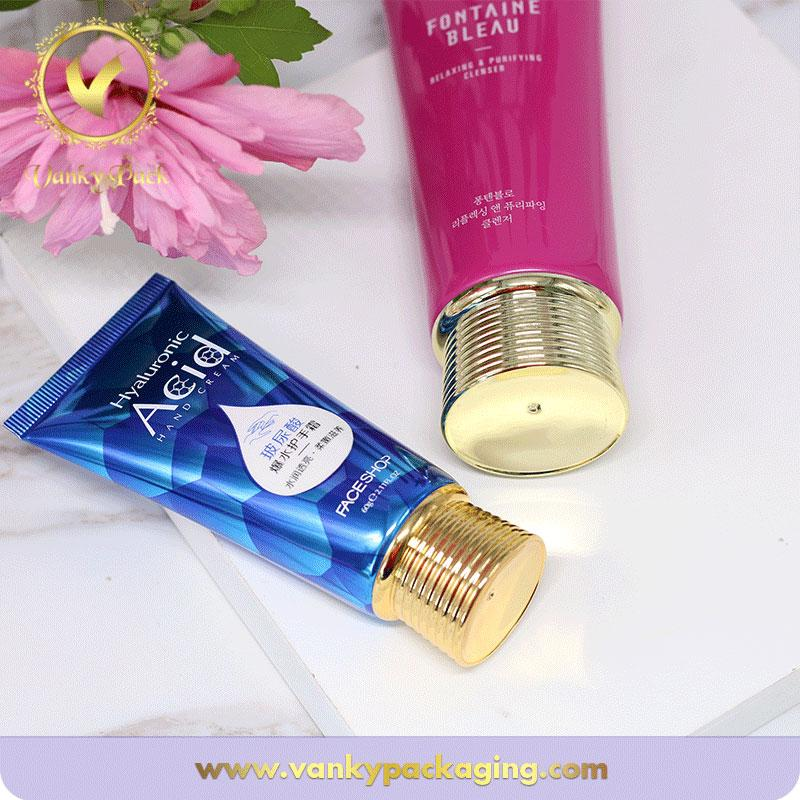 High quality empty plastic cosmetic tube for face cream  with gold cap