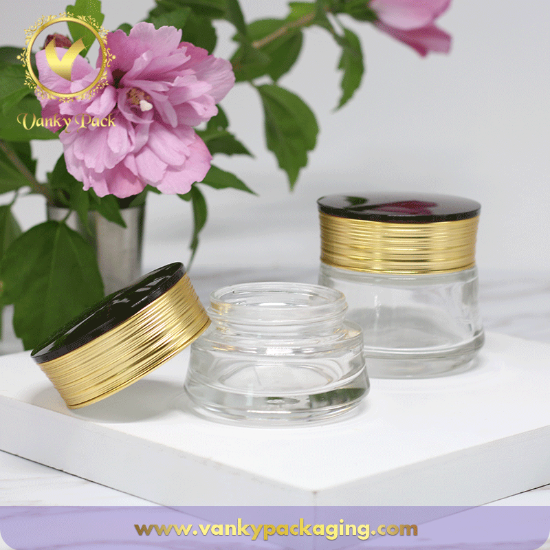 30G 50G Round Shape Cosmetic Clear Glass Jar With Plastic Screw Cap Packaging