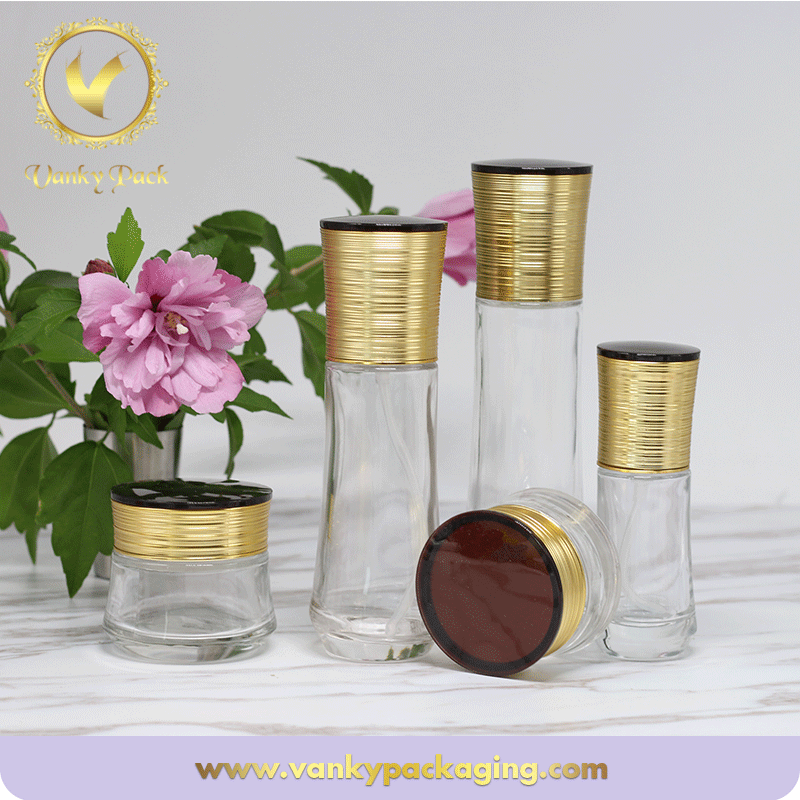 Whole Series Cosmetic Bottles and Jars with Matched Screw Cap and Press Pump