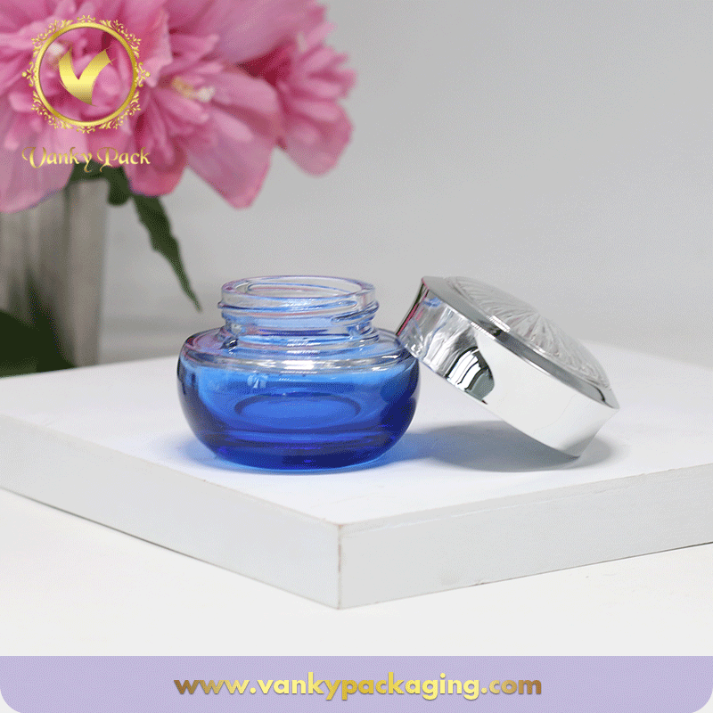 Blue Colored Cosmetic Glass Jar With Sliver Screw Cap Packaging