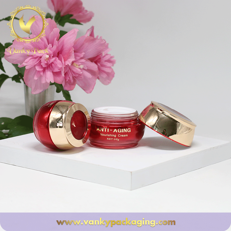 Red Colored Glass Jar With Silk Printing And Screw Cap Packaging