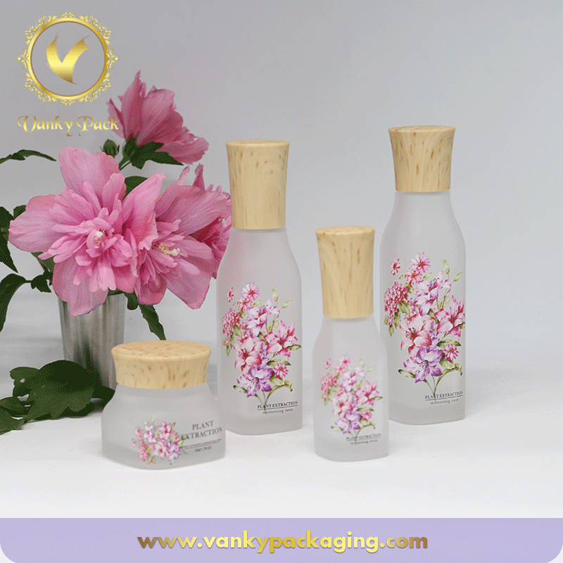 Whole Set Series Square Shape Frosted Glass Bottle And Jar Packaging