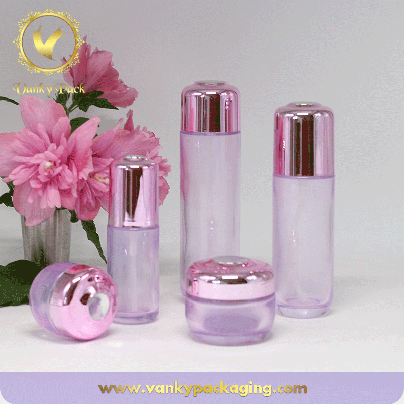 Transparent Colored Glass Bottle And Jar With UV Coated Cap Packaging