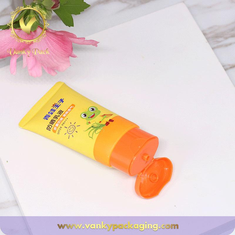 Custom baby cream PE plastic material cosmetic tube with flip cap