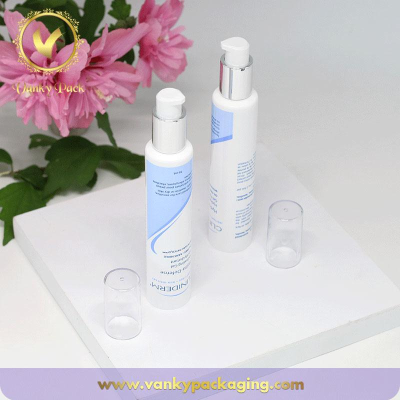 White glossy plastic cosmetic tube packaging for facial cream with airless pump