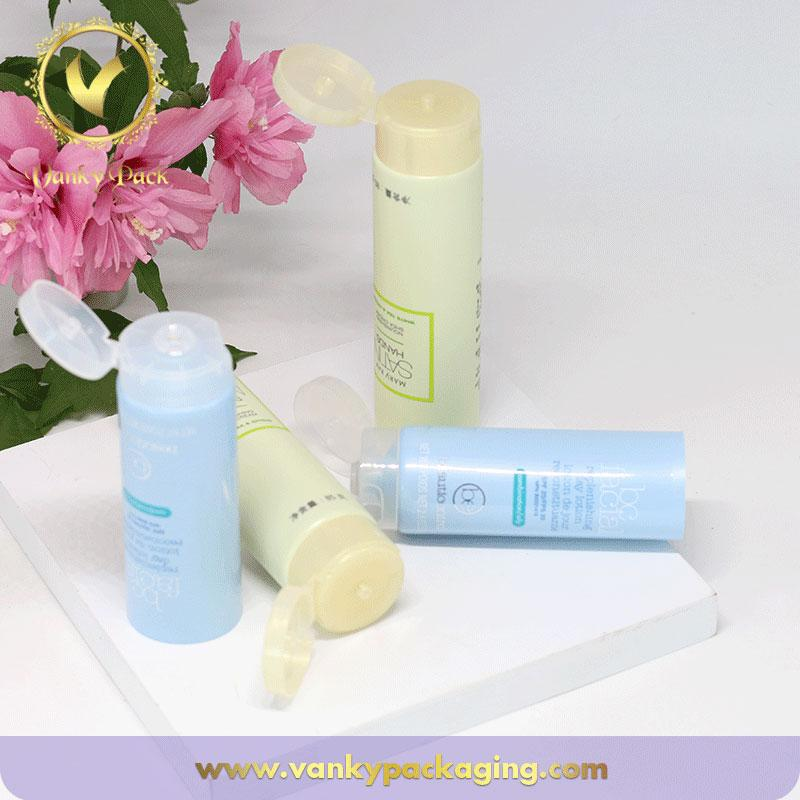 25mm 30ml customized cosmetic plastic face cream tube with clear flip cap