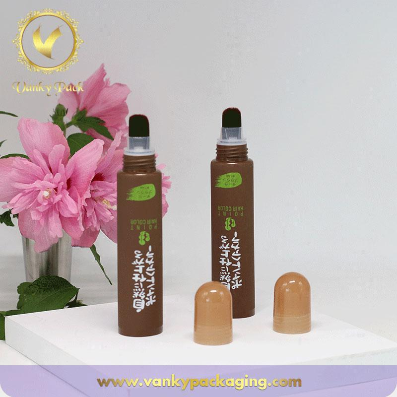 New design makeup cream screen print cosmetic packing plastic tube with brush top