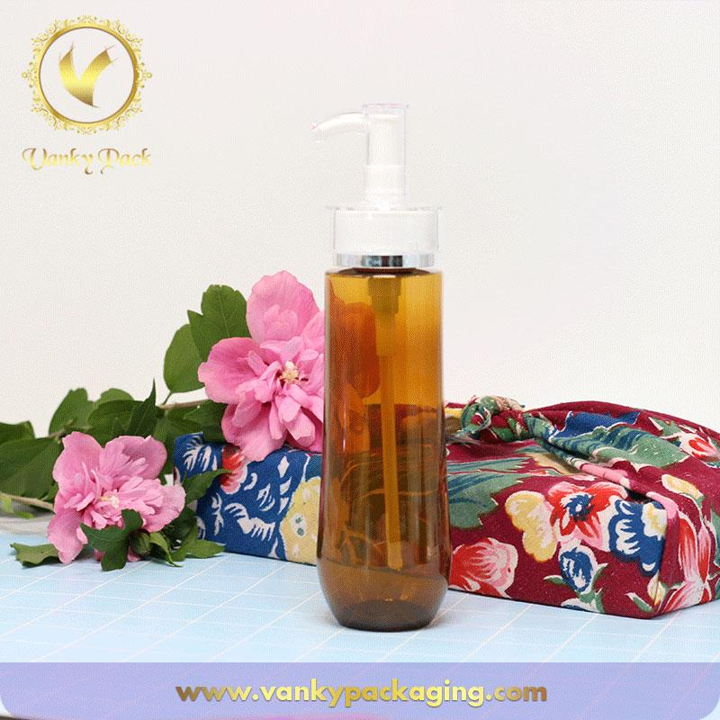 China made cosmetic plastic bottle amber plastic bottle with pump