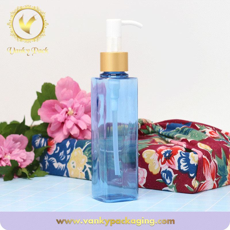 China wholesale blue transparent cosmetic plastic bottle made of PET