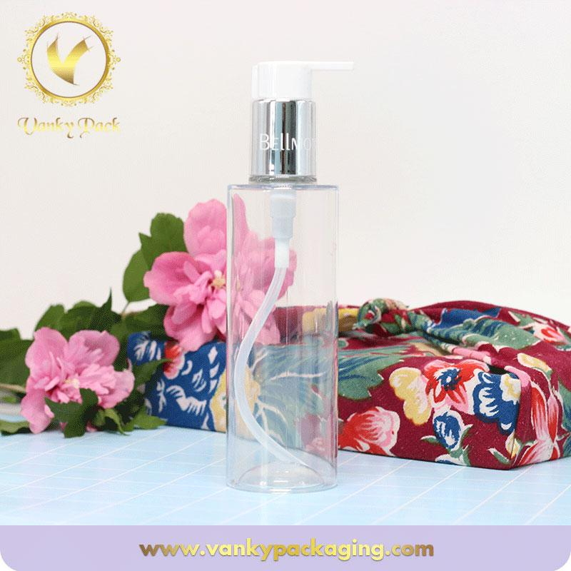 New design hot sale PET clear plastic bottle cosmetic plastic bottle with pump