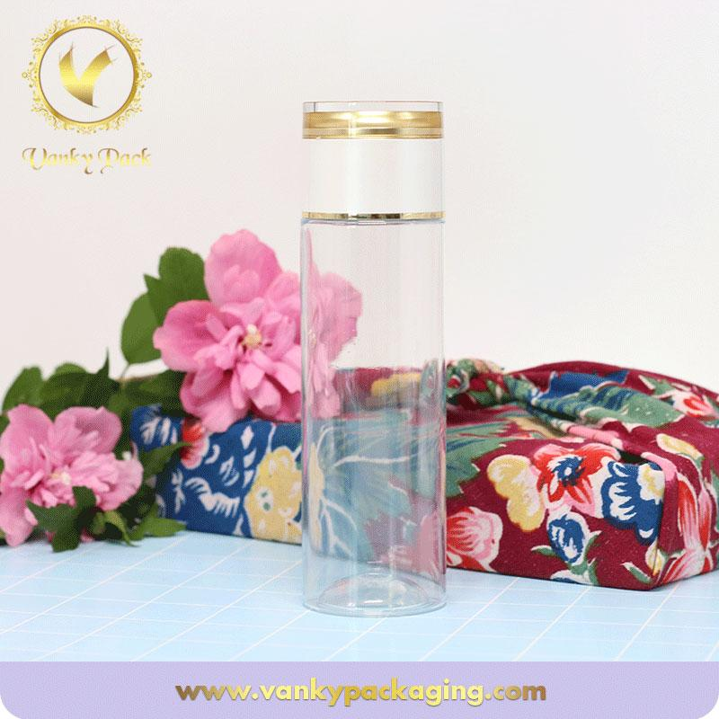 Luxury wholesale transparent cosmetic PET plastic bottle with screw cap