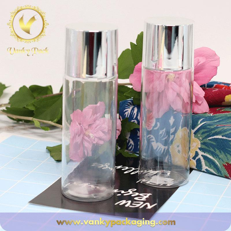 Fashion design transparent cosmetic PET plastic bottle with aluminum cap