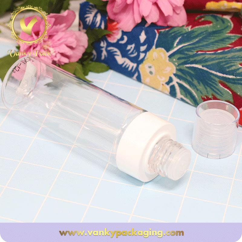 120ml cosmetic empty transparent plastic bottle with cap made of ABS and PP