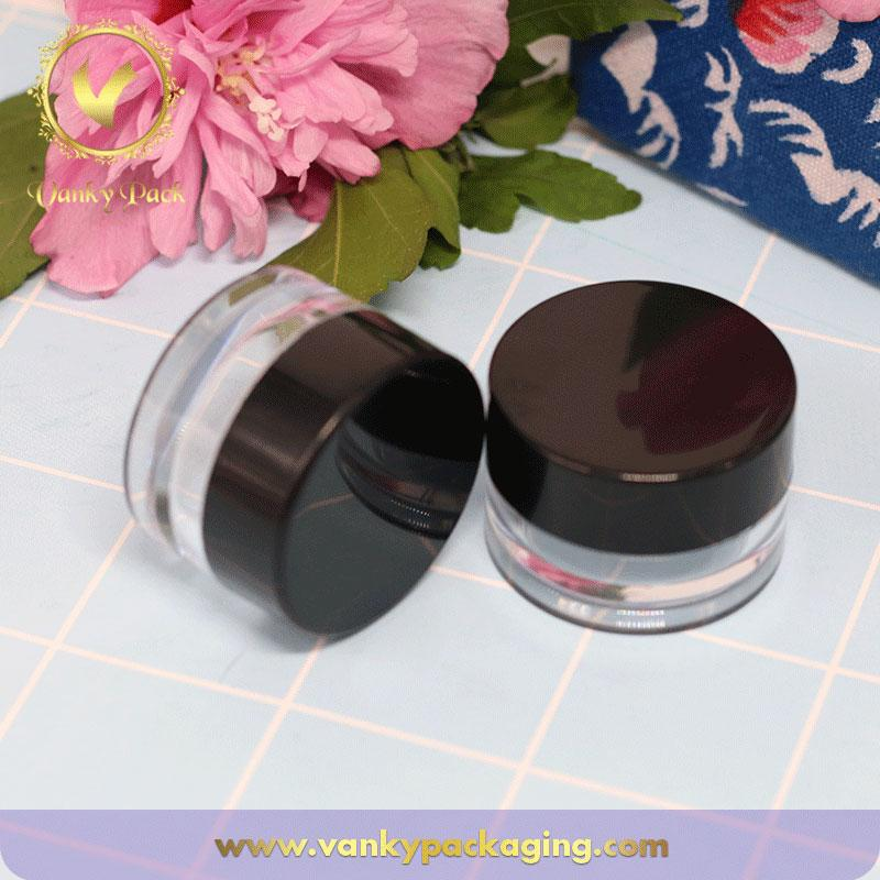 Hot sale 5g transparent cosmetic PS plastic jar with black cap