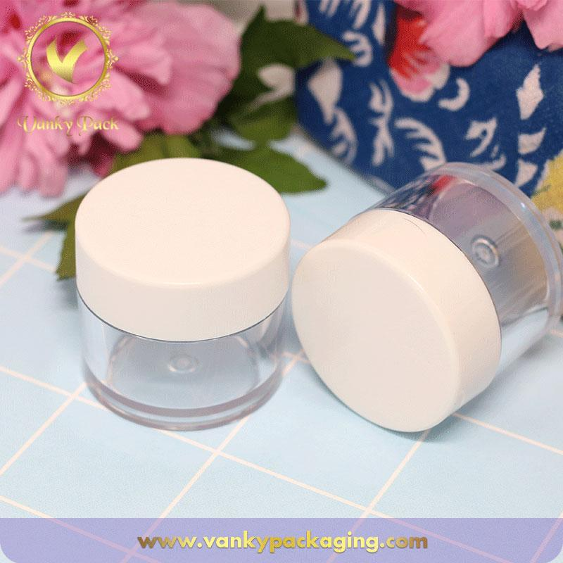 Customized clear transparent cosmetic PETG 10g plastic jar for face cream