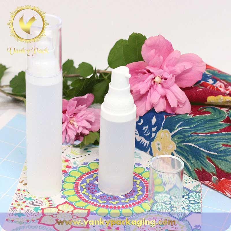 Hot sale white cosmetic plastic bottle airless lotion pump bottle