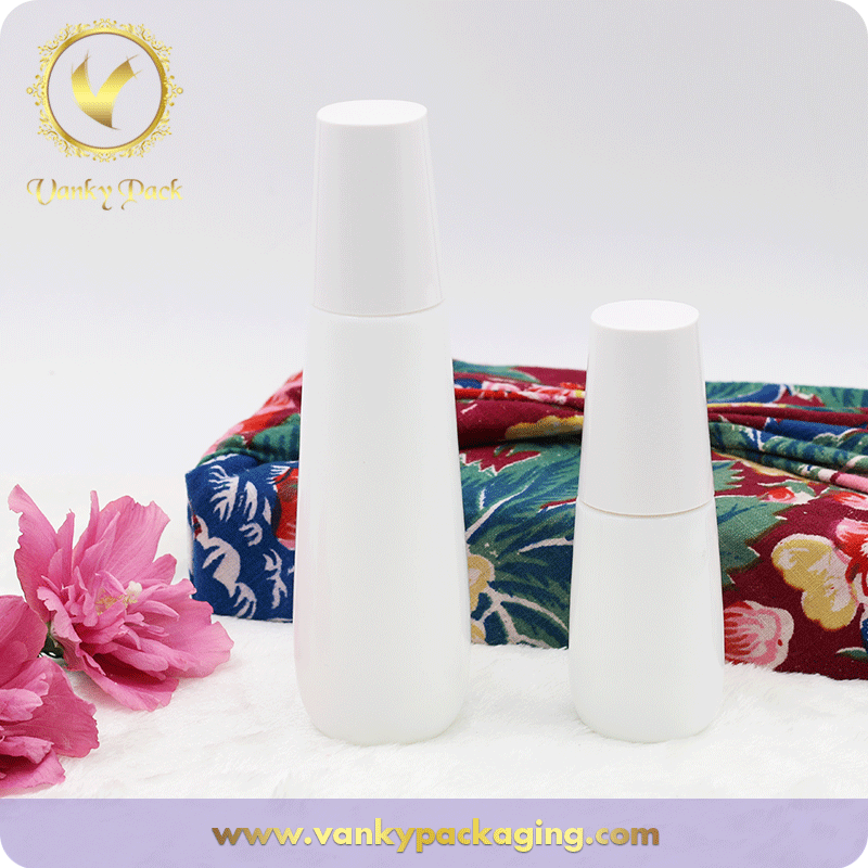 Round Shape White Glass Bottle and ABS White Screw Cap