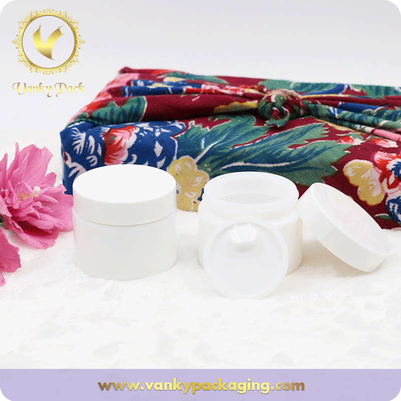 30g Round Shape White Glass Cosmetic Jar With Plastic Cap