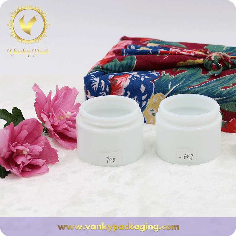 70g 60g Big Volume White Porcelain Cosmetic Jar Packaging For Face Cream