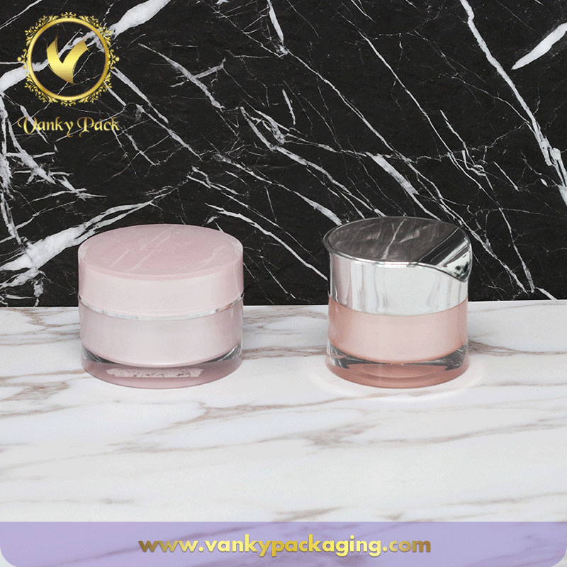 Cosmetic Acrylic Round Shape Cream Jar With Screw Cap Packaging