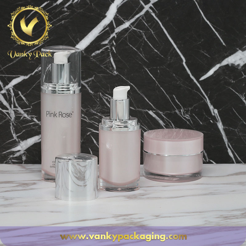 Cosmetic Whole Series Acrylic Bottles And Jars With Pump And Cap Packaging
