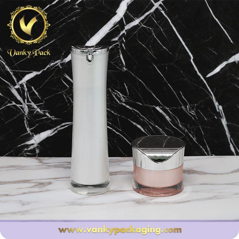 High End Round Shape Acrylic Cosmetic Bottle With Pump Packaging