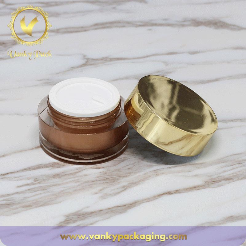 UV Printing Coated Cosmetic Acrylic Cream Jar With Screw Cap Packaging